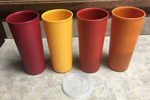 4 Vintage Tupperware #107 Harvest COLORS 16oz Tumblers Cups WITH 1 LID