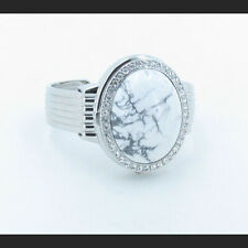 Stainless steel Natural White Howlite Wristwatch GENEVA Adjustable Cuff Band