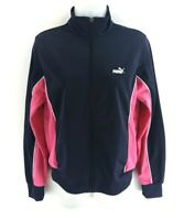PUMA Womens Tracksuit Top Track Jacket 12 Navy Blue Pink Polyester