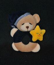 Peluche doudou ours JOLLYBABY bleu étoile jaune grelot 15 cm TTBE
