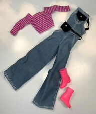 Barbie Doll Clothing: Fashion Avenue denim Overalls w pink top Boots