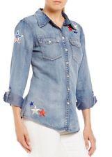 NWT REBA Americana Patch Denim/ Chambray Shirt Women's Size Small $88
