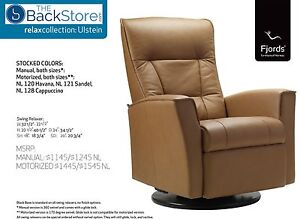 Fjords Ulstein Swing Relaxer Power Electric Recliner Chair NL Havana Leather