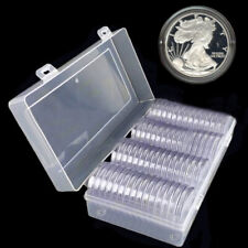 60Pcs Round Plastic Coin Capsule Containers Storage Box Holder Case 40/41mm