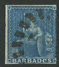 BARBADOS QV 1d BLUE IMPERF USED