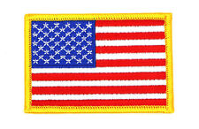 "US FLAG PATCH GOLD BORDER EMBROIDERED,FLAG PATCH United States 3"" x 2""(SYAF-604)"