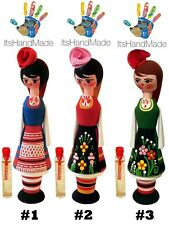 Bulgarian Rose Oil Perfume Essence in Wooden Doll Box Girl Muskal Rosa Damascena