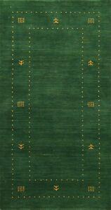 Tribal GREEN Gabbeh Bordered Oriental Runner Rug Hand-knotted Modern Carpet 2x5