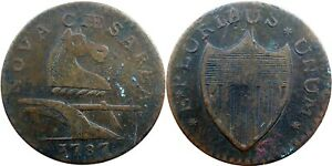 1787 New Jersey Copper, Maris 64-t, small planchet, SHARP VF Detail, NO RESERVE