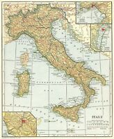 1921 Antique MAP of ITALY Original Vintage Italy Map Gallery Wall Art 8372