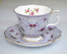 Royal Albert True Love White Pink Roses Lilac Lavender Background Cup Saucer