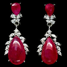 NATURAL PINK RUBY & WHITE CZ EARRINGS 925 STERLING SILVER
