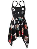 Women Cute Backless Christmas Cat Print Cami Asymmetric Mini Dress Plus Size