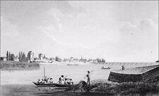 BOURBONNAIS -MOULINS & le PONT REGEMORTES vus de l'ALLIER au 19e - Gravure 19e