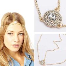 Gold stone Fatima Pearl Tassel Head Chain Boho Headband Metal headwear Bohemian