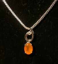 Carnelian and White Sapphire Sterling Pendant on a .925 chain. SITE CLOSING SALE