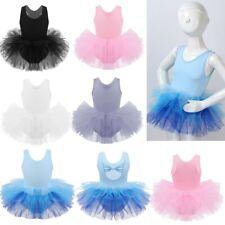 Girls Ballet Dance Dress Leotard Sleeveless Tutu Gauzy Kids Gymnastics Dancewear