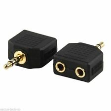 STEREO MALE 3.5MM JACK TO 2X FEMALE 3.5MM GOLD PLATED SINGLE ADAPTER