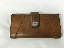 FOSSIL Brown Leather Bifold Checkbook Wallet with Kisslock Coin Purse