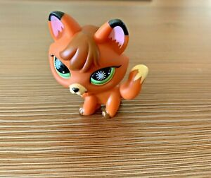 Littlest Pet shop brown FOX starburst green Eyes LPS single