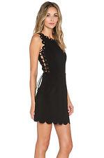 Lavish Alice Womens Scallop Lace Up Mini Dress Size 8 Uk BNWT RRP £66 Black