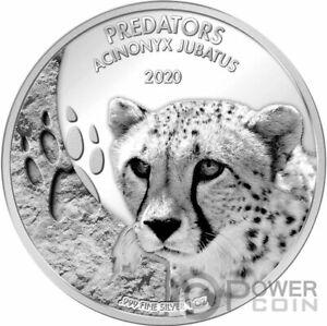 ACINONYX JUBATUS Cheetah Predators 1 Oz Silver Coin 20 Francs Congo 2020