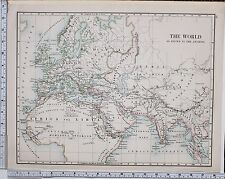 1889 LARGE ANTIQUE HISTORICAL MAP ~ THE WORLD KNOWN BY ANCIENTS EUROPA HISPANIA