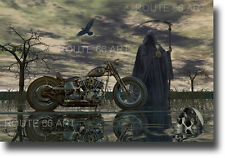 HARLEY DAVIDSON CHOPPER MOTORCYCLE GRIM REAPER SKULL BIKER ART PRINT