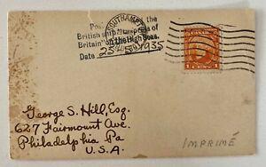 1935 Southampton Paquebot 1c Emp of Britain to Philadelphia PA USA