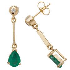Pendientes de joyería con gemas de oro amarillo esmeralda diamante