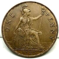 1927, GREAT BRITAIN, GEORGE V - ONE PENNY, BRONZE  COIN  - KM# 826