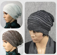 Unisex Women Men Adult Knit Beanie Plicate Baggy Hat Winter Warm Ski Slouch Cap