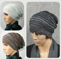 Unisex Women Men Adult Knit Beanie Plicate Baggy Hat Winter Warm Ski Slouch Cap