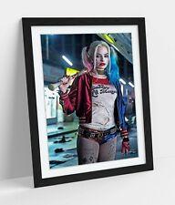 HARLEY QUINN ART FRAMED POSTER PICTURE PRINT ARTWORK - RED BLUE