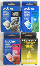 Brother LC 700 / LC700 Genuine Black, Cyan, Magenta, Yellow Set. New / Sealed.