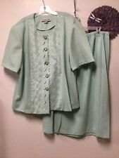 Ladies skirt dress suit size 24W petite light green floral Pablo Collection 156