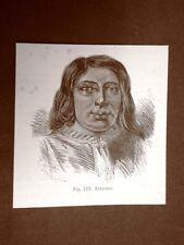Uomo Araucano nel 1883 Etnia degli Araucani o Auca America
