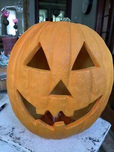 "Vintage Gemmy Light Up Halloween Foam Mold Pumpkin Jack O Lantern LARGE 13"""