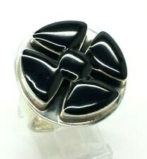 Taxco Onyx Scales Sterling Silver 925 Ring 14g Sz.8 LEY129