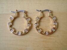 Vergoldete Ohrringe mit klaren Strass Steinen 11,3 g / ca 3,0 x 2,6 cm