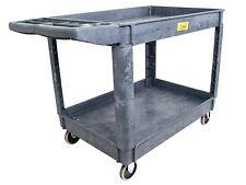 "Pake Handling Tools - Plastic 2 Shelves Utility Cart, 550lbs Capacity, 37"" x 25"""