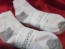 Davido Mens socks ankle quarter 100% cotton made in Italy 8 pair white/gray 9-11