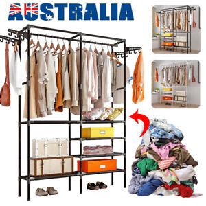 Clothes Rail Storage Coat Garment Wardrobe Organiser Shelf Shoe Rack Hat Hook AU