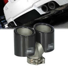 Real Carbon Fiber Polished Black Dual Wall Exhaust Pipe & Tips Stainless Steel