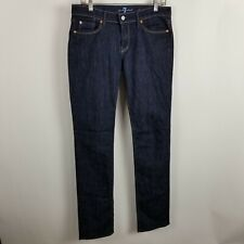 7FAM 7 For All Mankind Straight Leg Womens Dark Wash Blue Jeans Size 30
