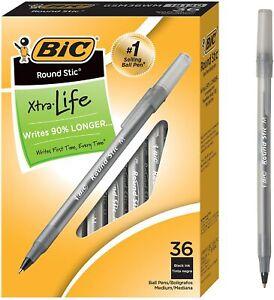 BIC Round Stic Xtra Life Ballpoint Pen, Medium Point (1.0mm), Black, 36-Count