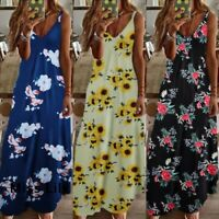 Women Summer Beach Strappy Maxi Dress Ladies Boho Loose Holiday Long Sun Dresses