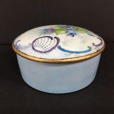 """Vintage Hand Painted Limoges France Porcelain Trinket Box Blue Purple Violet 3"""""""