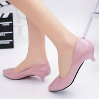 Women Kitten Heels Pumps Patent Leather Sandals Pointed Toe Casual Shoes Slip On