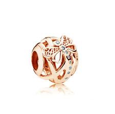 Dreamy Dragonfly CZ Rose Gold Charm Bead fits European Bracelets + Gift Bag